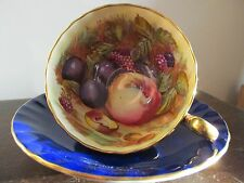 Vtg Aynsley England Tea Cup And Saucer Signed D Jones Orchard Fruit Cobalt Blue