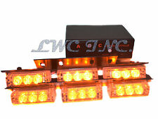 18 LED Emergency Vehicle Strobe  Lights Deck Dash Grille Lightbars Amber