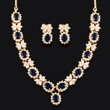 Xmas Jewel Set Royal Blue Sapphire 18K Yellow Gold Plated Stud Earrings Necklace