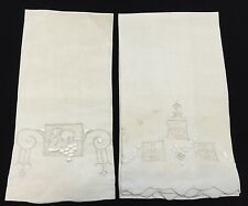 Lot Of 2 Vintage Small Linen Hand Towels, Embroidered, Drawn Thread Work (RF338)