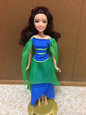 2008 Barbie Diamond Castle Princess Muse Doll Dori Brunette In Green Blue Dress