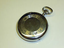VINTAGE POCKET WATCH PETROL LIGHTER HIGH POLISH CHROME FEUERZEUG IN UHRENFORM