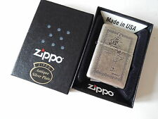 Authentic Zippo Lighter - Antique Silver Plate 225744 - No Inside Guts Insert
