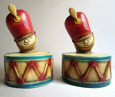 1940's Chippy Chalkware Bookends - Lil Drummer Boys Drum Major 1944 PD & Co Inc.