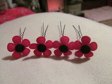 """SMALL FELT BLACK/RED POPPY HAIR PINS IN SETS OF 4 ON 2.5"""" PINS 1"""" ACROSS FLOWERS"""