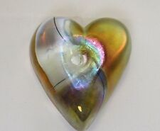 Paperweight Art Glass Heart Gold Iridescent Clear Attributed to Robert Held