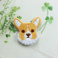 Cute Dog corgi Patch Embroidered Face Iron On Sew On Patches
