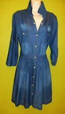 New Rama Ape Blue Cotton Denim Dress Size 12 -14