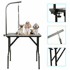 DOG GROOMING TABLE FOLDING PET BEAUTY DESK STAINLESS ARM&ANTI-STATIC SURFACE