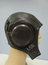 WWII USN NAVY FLIGHT OR DECK LEATHER HELMET WITH REMOVABLE EARCUPS
