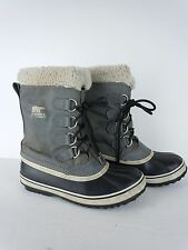 Womens Sorel Grey Insulated Waterproof Winter Snow Boots Size 7