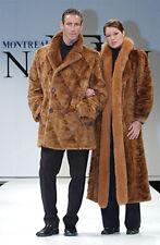 Golden Mink Fur Car Coat Jacket for Men - Double Breasted