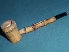 "WOODEN VINTAGE USED SMOKED BAMBOO PIPE  5-3/4"" LONG LIGHTLY USED"