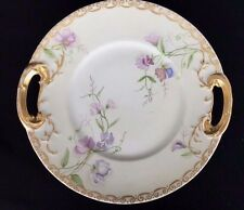 Antique JP Limoges France Double Handed Cake Plate Hand Painted Floral Gold