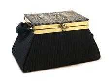 Vintage Black Fabric Box Purse with Celluloid Decoration, Mirror