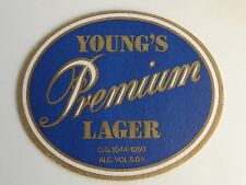 Vintage Beer Coaster ~ YOUNG'S Brewery Premium Lager ~ London, ENGLAND ** CLOSED