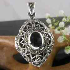 STUNNING Sterling Silver MARCASITE & BLACK ONYX Art Deco Style LOCKET