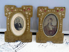 Pair Antique Civil War Tintype Picture Frames Cloth With Needlepoint