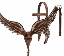 Leather Angel Wing Design Bling Western Horse Bridle & Breast Collar Set
