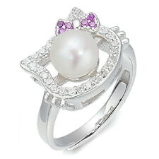 Lovely Hello Kitty Clear Crystal Pearl 925 Sterling Silver Sizable Ring