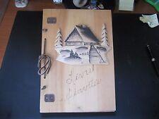 livre d'invités décor chalet sapin sculpté signé tampon audet quebec fait main