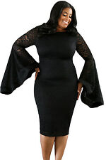 New Stunning Black Floral Lace Bell Sleeves Plus Size Midi Dress 16 18 20 22 24