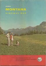 1959 MONTANA Official State Highway Road Map Helena Fort Benton Madison River