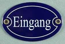 """Emaille Türschild """"Eingang"""" blau oval 7x10 cm Schild Emailleschild Metallschild"""