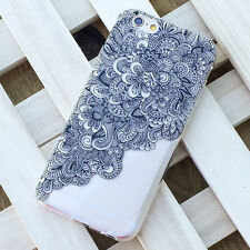 New Black Clear Floral Flower Plastic Case Cover Case Skin For iPhone 6 4.7inch