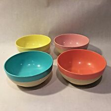 Retro Vtg MCM Raffiaware by Thermo-Temp Cereal Bowls Set of 4 Pastel Colors USA