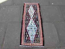 Old Hand Made Persian Oriental Wool Cotton Blue kilim Short Runner 125x52cm