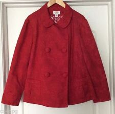 Talbots Red Tapestry Floral Cotton Blend Pea Jacket Blazer Petite Small S NWOT