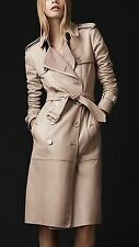 $6,000 RUNWAY Burberry Prorsum 6 8 40 Nude Leather Cashmere Trench Coat Women