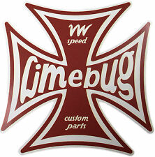 "Limebug VW 4"" Iron Cross Sticker Decal Die Cut Beetle Bus Bay Split Camper T1 T2"