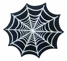 Spider Web Net Black Halloween Tattoo Punk Retro Biker Embroidered Iron On Patch