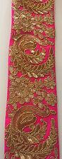 1 METRO PIZZO etnico indiano rosa e oro su scala d'oro Zari lavori in pizzo