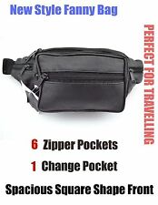 Genuine Leather Fanny pack Belt Pouch waist patch Travelling Bag  6 Pockets
