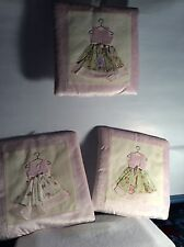 SET OF THREE CLOTH WALL DECOR HANGINGS.GIRLS APPLIQUE DRESSES PINK AND FLORAL