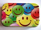 new slim 1oz hinged tobacco tin laughing smiley faces and rolling papers