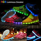 Childrens Yeezy LED Magic Light Up RGB Luminous Kids Casual Sneaker Sport Shoes
