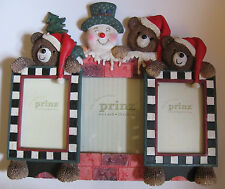 3 PC VINTAGE PRINZ 2.5 x 3.5, 6 x 4 CHRISTMAS RESIN WOOD FRAME SET BEAR SNOWMAN