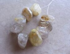 9 Golden Rutilated Quartz Gemstone Faceted Chunky Nugget Slice Beads 13mm-16mm