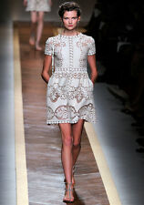 Valentino Runway ss 12 Ivory Heavy Cotton Guipure Lace Dress BNWT 10 IT 42 £2245