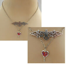 Vampire Heart Bat Pendant Necklace Jewelry Handmade NEW Silver Fashion Red