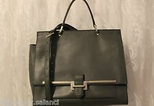 Karen Millen Structured Leather Large Shoulder Tote Office Document Grey Bag