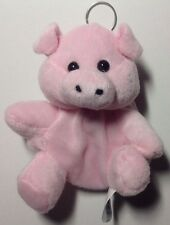 """Plush Keychain With Zippered Coin Pouch Farm Animal Pig Pink 5"""" NEW"""