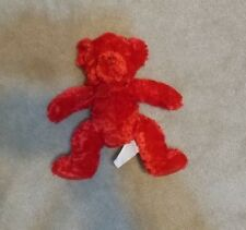 "Russ Berrie Red SCARLET Teddy Bear stuffed plush 11"" red bow"