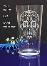 Personalised SUGAR SKULL engraved pint glass for Birthday, Christmas gift 143
