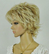 Blonde Mixed Short fluffy Curly Women Female Lady Hair wig