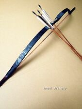 Chinese black longbow recurve bow 20-60# Archery long bow +3 bamboo arrows